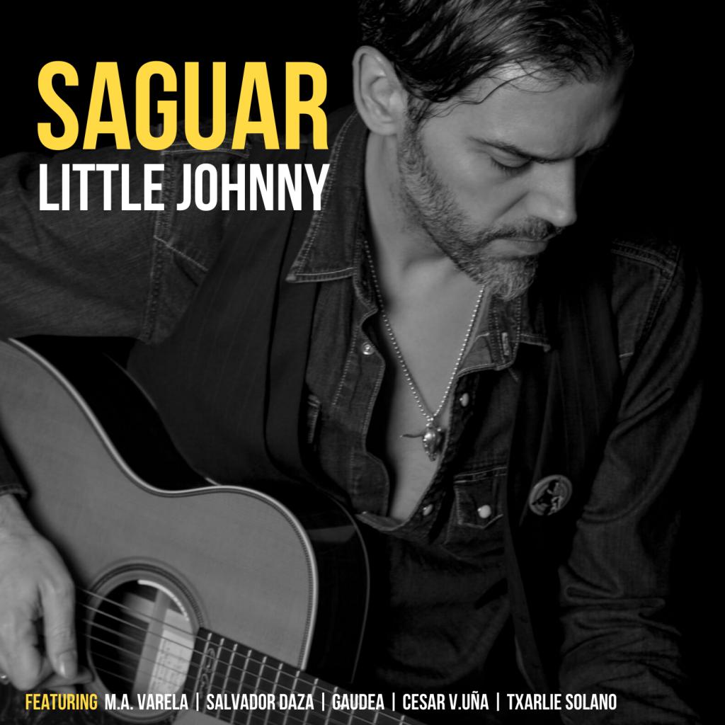 foto de perfil de Saguar en blanco y negro con guitarra acústica